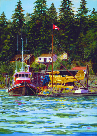 295. Boat and Plane at Pender Harbour